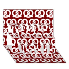 Red Pretzel Illustrations Pattern THANK YOU 3D Greeting Card (7x5)