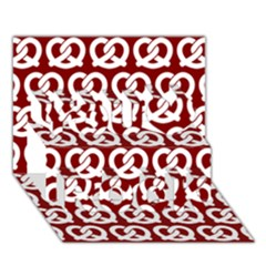 Red Pretzel Illustrations Pattern You Rock 3D Greeting Card (7x5)