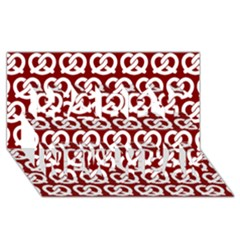 Red Pretzel Illustrations Pattern Happy New Year 3d Greeting Card (8x4)