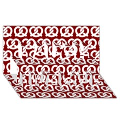Red Pretzel Illustrations Pattern Laugh Live Love 3D Greeting Card (8x4)
