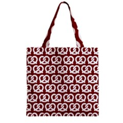Red Pretzel Illustrations Pattern Grocery Tote Bags