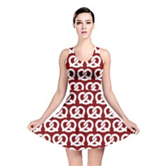 Red Pretzel Illustrations Pattern Reversible Skater Dresses