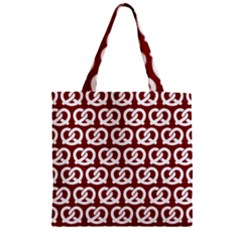 Red Pretzel Illustrations Pattern Zipper Grocery Tote Bags
