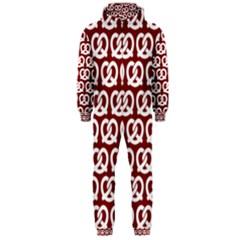 Red Pretzel Illustrations Pattern Hooded Jumpsuit (Men)