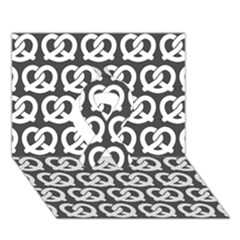 Gray Pretzel Illustrations Pattern Ribbon 3D Greeting Card (7x5)