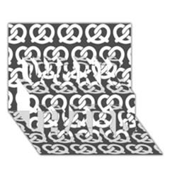 Gray Pretzel Illustrations Pattern WORK HARD 3D Greeting Card (7x5)