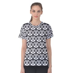 Gray Pretzel Illustrations Pattern Women s Cotton Tees