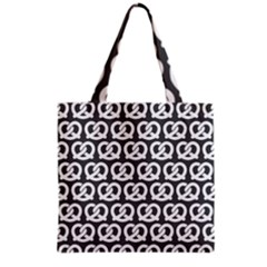 Gray Pretzel Illustrations Pattern Grocery Tote Bags