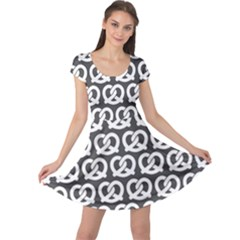 Gray Pretzel Illustrations Pattern Cap Sleeve Dresses