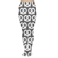 Gray Pretzel Illustrations Pattern Women s Tights