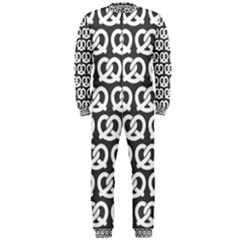 Gray Pretzel Illustrations Pattern Onepiece Jumpsuit (men)