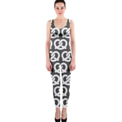 Gray Pretzel Illustrations Pattern OnePiece Catsuits