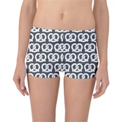 Gray Pretzel Illustrations Pattern Boyleg Bikini Bottoms