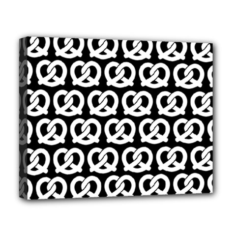 Black And White Pretzel Illustrations Pattern Deluxe Canvas 20  x 16