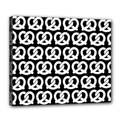 Black And White Pretzel Illustrations Pattern Deluxe Canvas 24  x 20