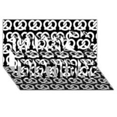 Black And White Pretzel Illustrations Pattern Happy Birthday 3D Greeting Card (8x4)
