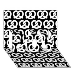 Black And White Pretzel Illustrations Pattern Boy 3d Greeting Card (7x5)
