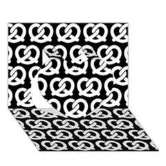 Black And White Pretzel Illustrations Pattern Heart 3D Greeting Card (7x5)