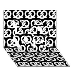 Black And White Pretzel Illustrations Pattern Love 3d Greeting Card (7x5)