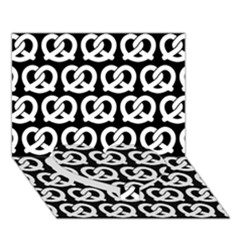 Black And White Pretzel Illustrations Pattern Heart Bottom 3d Greeting Card (7x5)
