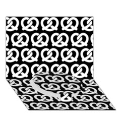 Black And White Pretzel Illustrations Pattern Circle Bottom 3D Greeting Card (7x5)