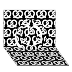 Black And White Pretzel Illustrations Pattern Peace Sign 3d Greeting Card (7x5)