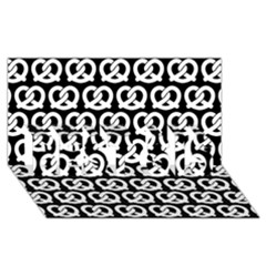 Black And White Pretzel Illustrations Pattern BEST SIS 3D Greeting Card (8x4)