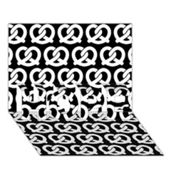 Black And White Pretzel Illustrations Pattern HOPE 3D Greeting Card (7x5)