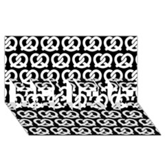 Black And White Pretzel Illustrations Pattern Believe 3d Greeting Card (8x4)