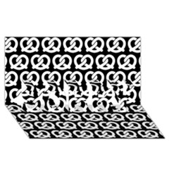 Black And White Pretzel Illustrations Pattern Sorry 3d Greeting Card (8x4)