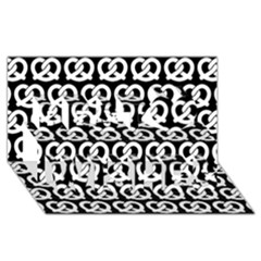 Black And White Pretzel Illustrations Pattern Best Wish 3D Greeting Card (8x4)