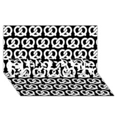 Black And White Pretzel Illustrations Pattern ENGAGED 3D Greeting Card (8x4)