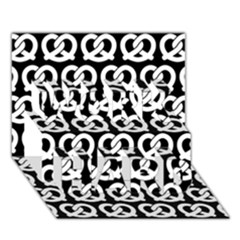 Black And White Pretzel Illustrations Pattern WORK HARD 3D Greeting Card (7x5)
