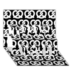 Black And White Pretzel Illustrations Pattern Thank You 3d Greeting Card (7x5)