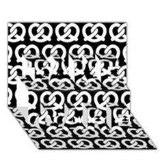 Black And White Pretzel Illustrations Pattern Take Care 3d Greeting Card (7x5)