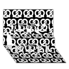 Black And White Pretzel Illustrations Pattern Get Well 3d Greeting Card (7x5)