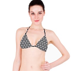 Black And White Pretzel Illustrations Pattern Bikini Tops