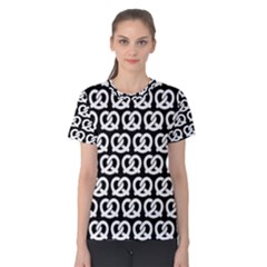 Black And White Pretzel Illustrations Pattern Women s Cotton Tees