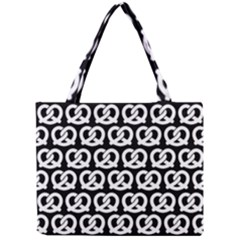 Black And White Pretzel Illustrations Pattern Tiny Tote Bags