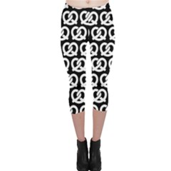 Black And White Pretzel Illustrations Pattern Capri Leggings