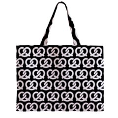 Black And White Pretzel Illustrations Pattern Zipper Tiny Tote Bags