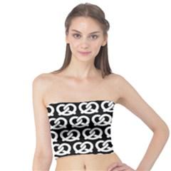 Black And White Pretzel Illustrations Pattern Women s Tube Tops