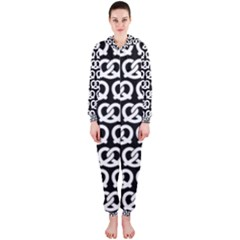 Black And White Pretzel Illustrations Pattern Hooded Jumpsuit (Ladies)