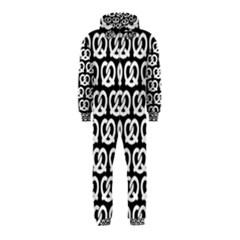 Black And White Pretzel Illustrations Pattern Hooded Jumpsuit (Kids)