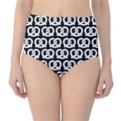 Black And White Pretzel Illustrations Pattern High-Waist Bikini Bottoms