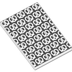 Gray Pretzel Illustrations Pattern Large Memo Pads
