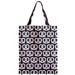 Gray Pretzel Illustrations Pattern Zipper Classic Tote Bags
