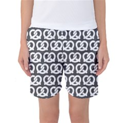 Gray Pretzel Illustrations Pattern Women s Basketball Shorts