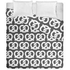 Gray Pretzel Illustrations Pattern Duvet Cover (double Size)