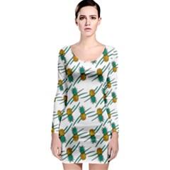 Pineapple Pattern Long Sleeve Bodycon Dresses